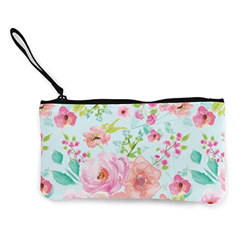 Extra Large Floral Mint Background Multifunctional Portable Canvas Coin Purse Phone Pouch Cosmetic Bag,Zippered Wristlets Bag