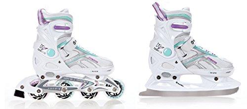 2in1 Schlittschuhe Inline Skates Inliner Raven Pulse White/Blue/Violet verstellbar Größe: 33-36 (20,5-23cm)