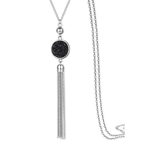 Lange Kette Quaste Halskette Anhänger Harz Pullover Kette Bohème-Stil für Frauen, Farbwechsel (Schwarz) (Langen Schwarzen Pullover Frauen)