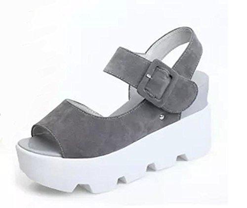 Erhöhte Sommer Sandalen Frauen flache Ferse Sandalen mit Plateau-Sandalen anti-Erdrutsch Grey