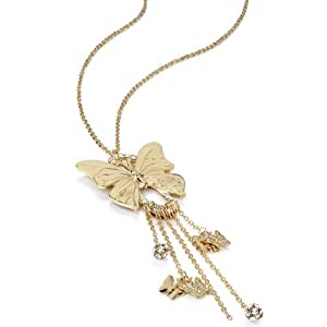 Gold Ab Crystal Butterfly Charm Long Necklace AJ26986