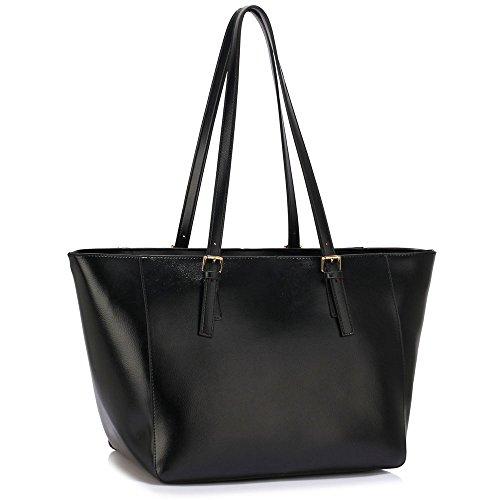 Meine Damen Umhängetaschen Frauen Große Designer Handtaschentoteschulterkunstleder Modische Taschen Promi Stil Kunstleder (D - Dark Nude) B - Schwarz
