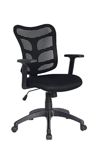 VIVA OFFICE Sedia ergonomica da ufficio in maglia con schienale medio, Nero