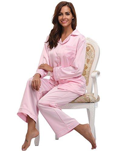 Aibrou Damen Herbstr Klassische Schlafanzug Satin V-Ausschnitt Zweiteiliges Pyjama Set B Rosa