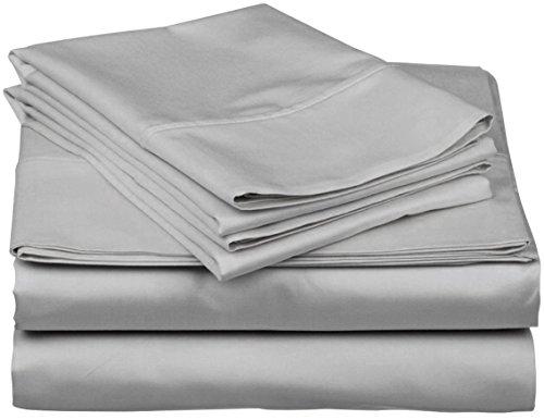 [hachette] 400fili 100% cotone egiziano lenzuolo con angoli matrimoniale grigio argento 40,6cm profondità