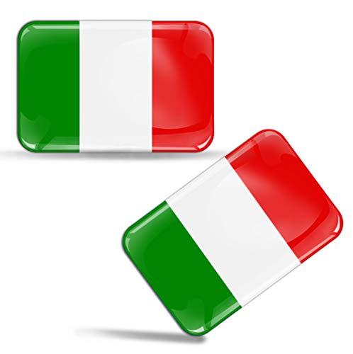 2 x Adesivi Resinati 3D Gel Stickers Divertente Bandiera Italia Italy Per Auto Moto Finestrìno Porta Casco Scooter Skateboard Bici PC Laptop Tablet Tuning F 29