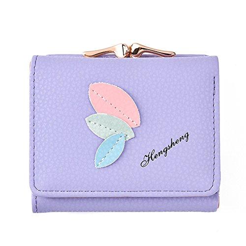 Bluelans Fashion Lovely Blätter Faux Leder Damen Geldbörse Card Holder kurz Wallet, Kunstleder, violett, 10.5cm x 3cm x 8.5cm/4.13