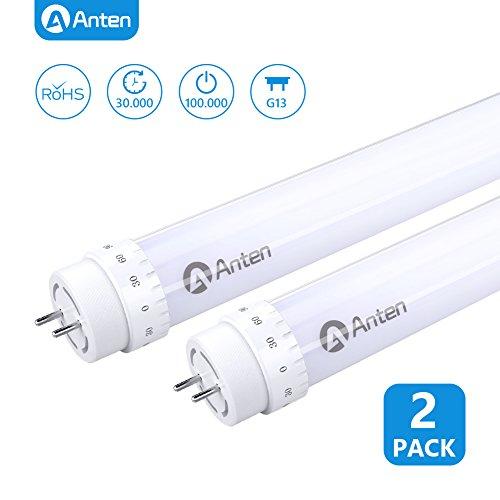 Anten 2er LED Röhre 120cm 20W T8 Sockel G13 LED Leuchtstoffröhre in Kaltweiß 6000K Tube Röhrenlampe 2000 Lumen inkl. LED Starter