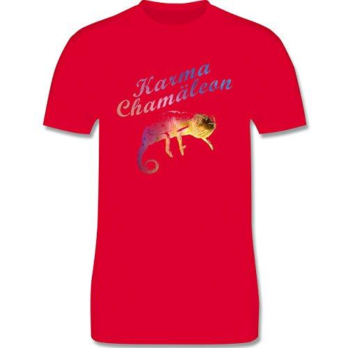 Statement Shirts - Karma Chamäleon - Herren Premium T-Shirt Rot