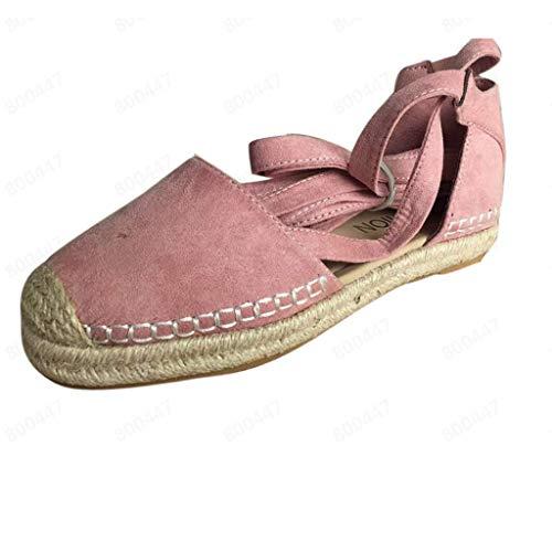 VJGOAL Damen Sandalen,Frauen Sommer Elegant Retro Flacher Boden Stroh Leinen Spitze Römische Sandalen Shoes for ()