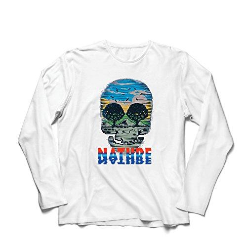 Langarm Herren t Shirts der Natur-Schädel - retten Sie den Planeten, stützen Sie wild lebende Tiere (XXX-Large Weiß Mehrfarben)