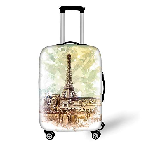Travel Luggage Cover Suitcase Protector,Eiffel Tower Decor,Pastel Watercolor Style Print Vintage Eiffel Tower Skyline Parisian Theme Artprint,Brown Beige,for Travel L