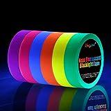 Neon Tape [6 Rollos] Cinta Adhesiva,UV Fluorescente Luz Negra, Neón Gaffer Tape, Glow In The Dark, Blacklight, 6 Colores, 25MM*15M Por Rollo, Para Suministros De Fiesta De Luz Negra