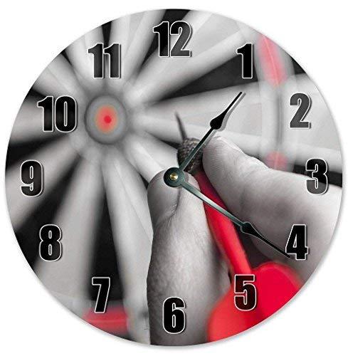 HSSS Vintage Shooting Red Dart Pin On Wood Dart Board Clock Dekorative Runde Holz Wanduhr - 30,5 cm -