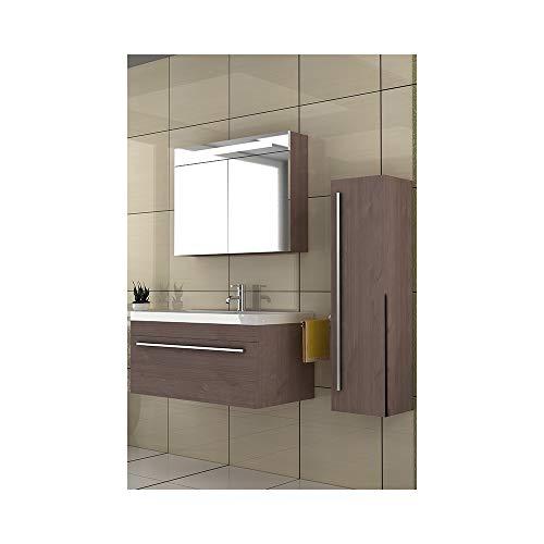 Badmöbel Set mit Waschbecken aus Mineralguss und Unterschrank mit Softclose-Funktion/brau