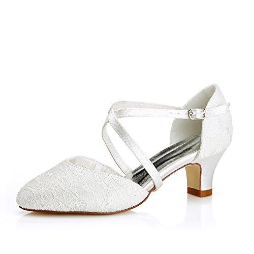 Mrs white 00967a scarpe da sposa donna raso pizzo punta chiusa pompe scarpe col tacco donna, 42 eu