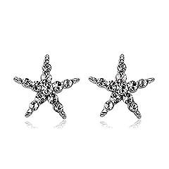 Idea Regalo - La Vivacita Shine-Orecchini a stella con cristalli swarovski placcato oro 18 k, di alta qualità, idea regalo per donne e ragazze