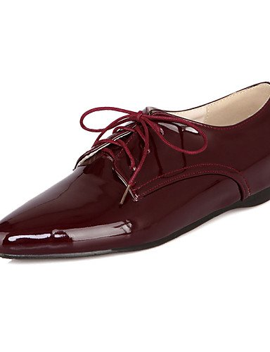 ZQ hug Scarpe Donna - Stivali - Casual - A punta - Piatto - Finta pelle - Nero / Blu / Bianco / Borgogna , burgundy-us8 / eu39 / uk6 / cn39 , burgundy-us8 / eu39 / uk6 / cn39 white-us5.5 / eu36 / uk3.5 / cn35