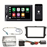 Sony XAV-AX1000 Apple CarPlay Bluetooth USB Moniceiver Autoradio Touchscreen Einbauset für Golf 5 6 Passat 3C CC B7 Touran