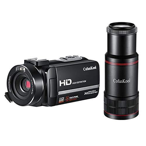 CofunKool Videokamera Full HD Video Camcorder 3.0 IPS LCD Touchscreen Digital Camcorder Pause Funtion Fernbedienung mit Fernrohr
