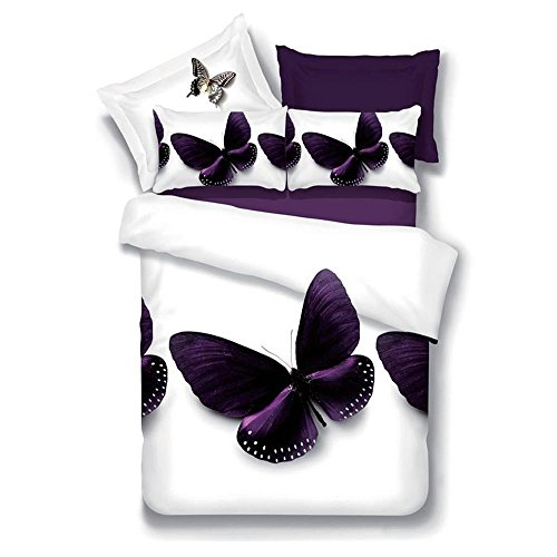 SHIQUNC 3D Schmetterling Muster bettwäsche königin Größe Quilt Bettbezug Gesetzt 200 cm x 230 cm 4 stücke (1 bettbezug/1Bed leinen/2 Kissenbezüge)