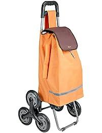 Metaltex 40Litre Capacité 6-wheel Poppy Kerb et escalier d'escalade, Chariot de courses, beige, Métal, Orange, 93 x 49 x 12 cm
