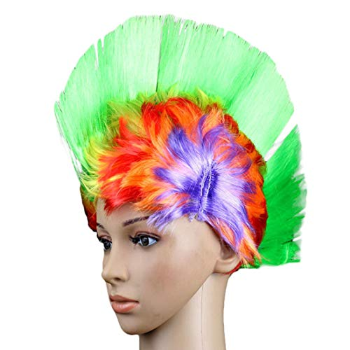 Voberry Unisex-Adult Vobery Halloween Masquerade Party Punk Mohawk Mohican Cockscomb Hair Wig Costume One Size Green