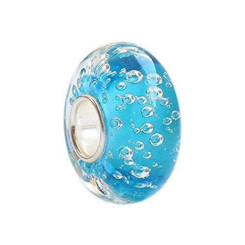 Beads Hunter Perla di vetro di Murano beads hunter, centro della perlina in argento sterling 925, colore: Turchese oceano delle Hawaii con bolle