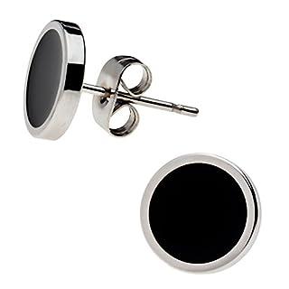 Elegante schlicht klassische runde Ohrstecker Ohrringe Edelstahl Schwarz/Silber 10mm für Damen und Herren