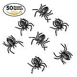 iFancy 50 Kleine Schwarze Spinnen - Halloween Party-Deko Tisch-Dekoration & Kostüm-Accessoire Spinne