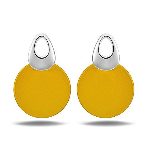 Pendientes amarillos grandes de tuerca