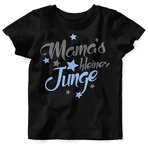 Mikalino Baby/Kinder T-Shirt mit Spruch für Jungen Unisex Kurzarm Mamas Kleiner Junge | handbedruckt in Deutschland | Handmade with Love, Farbe:schwarz, (Mutter Sohn Kostüme Ideen)