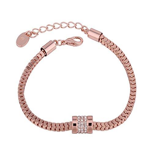 QueenDer Neues Design Kristall Armband Luxus Schmuck für Damen Mädchen Mütter Geschenk Rose Gold Farbe