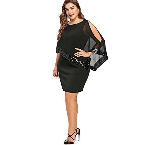 iDeesse Damen Übergröße Zweiteilig 3/4 Arm Rundkragen Pailletten Kleid (Schwarz, 2XL) - 4