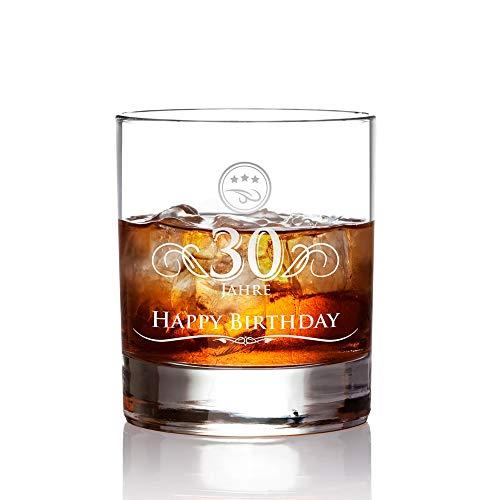 AMAVEL Whiskyglas mit Gravur zum 30. Geburtstag - Elegant - 30 Jahre - Whiskeyglas Tumbler - Geschenkideen für Männer zum Geburtstag - Geburtstagsgeschenke - Runder Geburtstag - Füllmenge: 320 ml