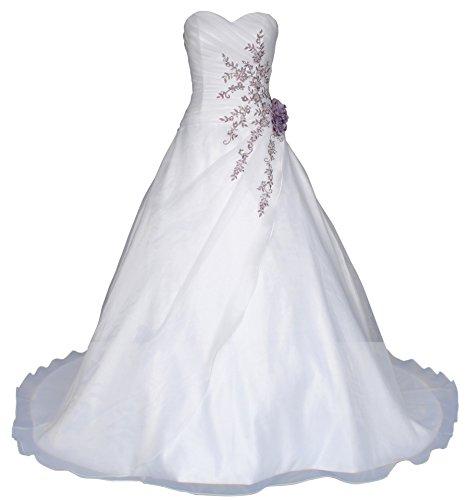 Romantic-Fashion Brautkleid Hochzeitskleid Weiß Modell W020 A-Linie Lang Satin Perlen Pailletten lila Stickerei DE Größe 40 (Taft Meerjungfrau Brautkleid)