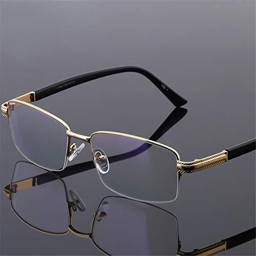 KOMNY Intelligent progressiveLarge Frame Lesebrille weit und nah lesen Brille Männer gehen Fahren Farbwechsel Spiegel Multi-Fokus Alten Lichtspiegel Goldrahmen grau, A + 150
