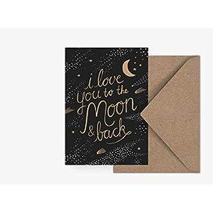 Postkarte - To The Moon - von typealive - Skandinavische Postkarte mit Spruch und Umschlag für jeden Anlass für Freund oder Freundin