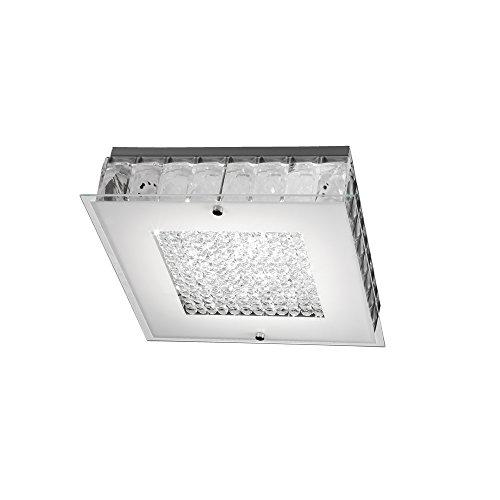 Onli plafoniera moderna led integrato 13 w, bianco/trasparente, con cristalli. illuminazione camera da letto, soggiorno, bagno 30 x 30 cm