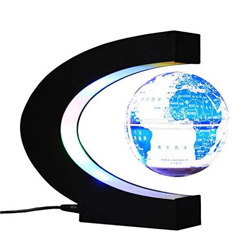 HAOLIN Rotierende Weltkarte Magnetschwebebahn Oval Floating Globe Schreibtischlampe Rotating Globe-mit LED-Licht Für Den Home-Office-Schreibtisch Dekoration,Light