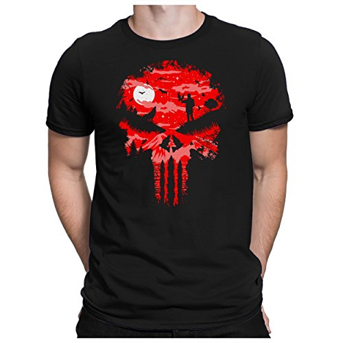 Blood-skull-t-shirt (PAPAYANA - Death-Blood-Skull - Herren Fun T-Shirt - Halloween Comic Schädel Gothic Emo - XXL Schwarz)