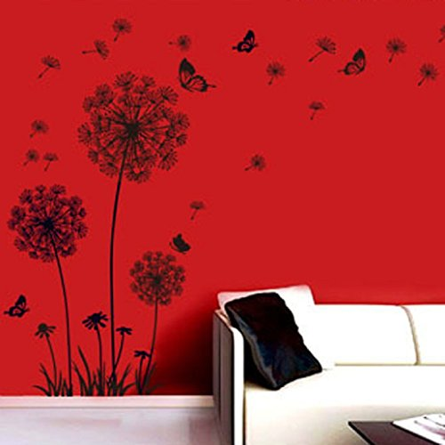malloom® tarassaco neri e farfalle che volano nel vento adesivi ... - Stickers Murali Camera Da Letto