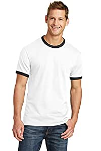 X-Large , White/ Jet Black : Port & Company PC54R 100% Cotton Ringer Tee