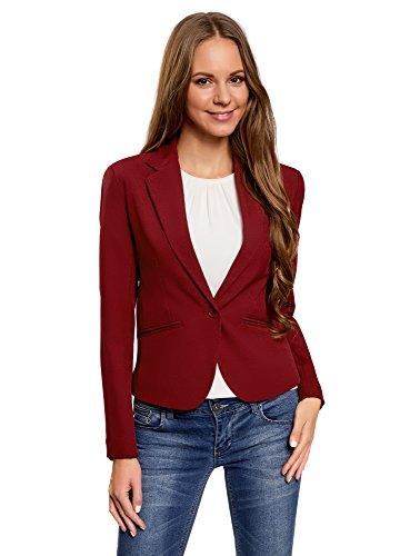 oodji Ultra Damen Kurzer Taillierter Blazer, Rot, DE 42 / EU 44 / XL