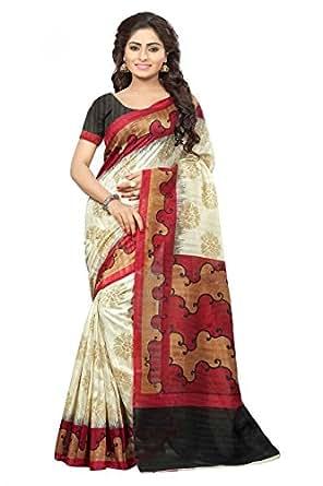 Divyaemporio Bhagalpuri Art Silk Saree (Dev-11447_Beige And Red)