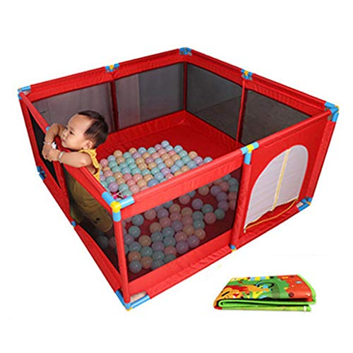 Großer Tragbarer Baby-Kinderlaufstall Mit Bällen Und Matte, Mädchen-Baby-Haus-Spiel-Yard-Sicherheitsschutzzaun Für Innenaußen, 8 Platten (Farbe : Red) - Baby-mädchen-spiel-yard