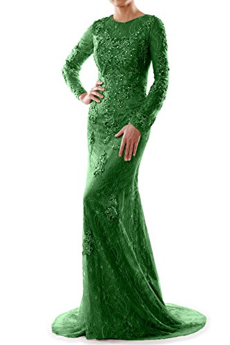 Victorian Lace Brautkleid (MACloth Women Long Sleeve Mermaid Lace Evening Formal Gown Mother of Bride Dress (EU42, Green))