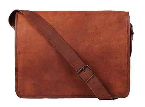 "VH GENUINE Leder Messenger Bag 15 ""Leder FULL FLAP Laptop Tasche Eco freundliche Ledertasche"