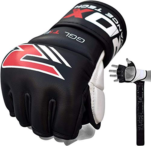 RDX Unisex MMA Handschuhe Profi Kamfsport Boxsack Sparring Freefight Rindsleder Grappling Gloves Sandsack Training Punchinghandschuhe - Schwarz - X-Large