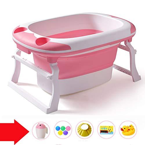 XUEPING Babyklappbadewannen , Kinderbadewanne, Große Kunststoffwanne, Mit Spielzeug Mit Sitz Trapezhalterung Tragbarer Pool Für Schwimmbecken L91 * K60 * H44 2 Farben (Farbe : Pink)